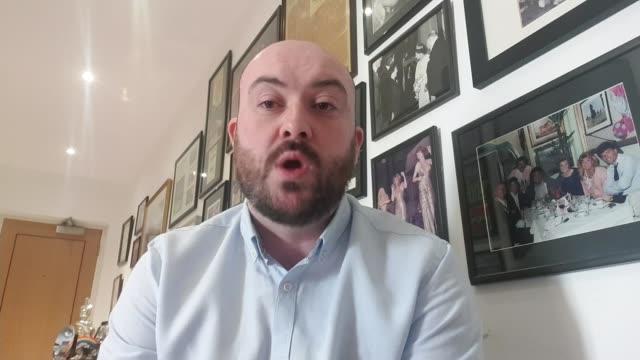 comedian eddie large dies with coronavirus england int ryan mcginnis 2 way interview sot - eddie large stock videos & royalty-free footage