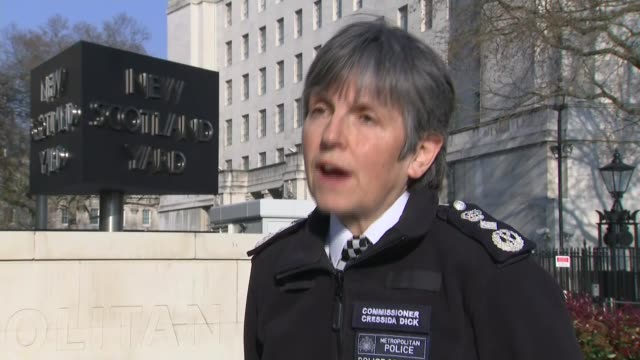 commissioner cressida dick calls on retired officers to return to service england london ext commissioner cressida dick interview sot calls for... - cressida dick stock videos & royalty-free footage