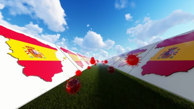 3d coronavirus concept with spain flags on maps - splashing droplet stock videos & royalty-free footage
