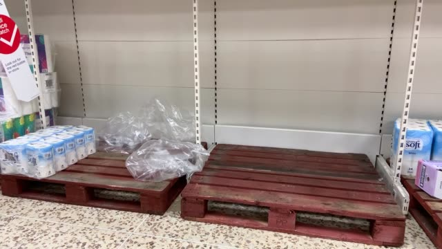 concern about food supplies; england: london: int empty supermarket shelves after people began panic buying because of the threat of the covid-19... - terrified stock videos & royalty-free footage