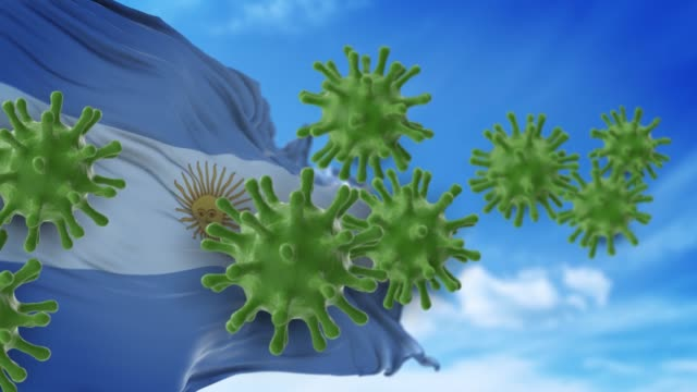 coronavirus covid-19 are spreding to the sky or cleaning from argentinian flag in 4k resolution - argentinian flag stock videos & royalty-free footage