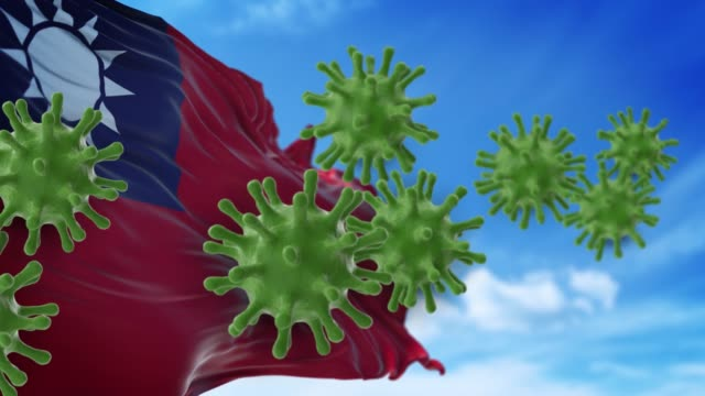 coronavirus covid-19 are spreding to the sky or cleaning from taiwanese flag in 4k resolution - taiwanese flag stock videos & royalty-free footage