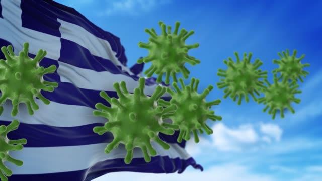 coronavirus covid-19 sind spreding auf den himmel oder reinigung von der griechischen flagge in 4k-auflösung - griechische flagge stock-videos und b-roll-filmmaterial