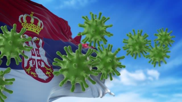 vídeos y material grabado en eventos de stock de coronavirus covid-19 están spreding to the sky o limpieza de la bandera serbia en resolución 4k - epidemiología