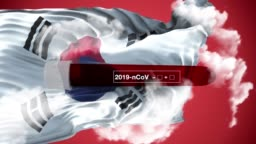 Coronavirus Covid-19 Blood Sample Test Positive on South Korean Flag Around Clouds Against Red Sky in 4K Resolution
