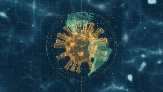vídeos de stock e filmes b-roll de coronavirus covid-19 or virus cell under the microscope - mutação genética