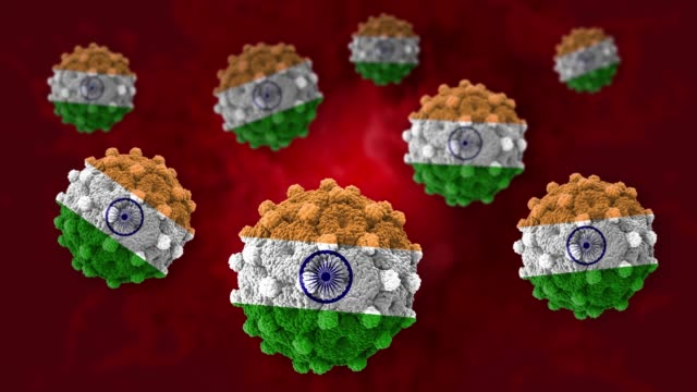 coronavirus covid-19 spreaded inside blood stream with indian flag shape in 4k resolution - india stock videos & royalty-free footage