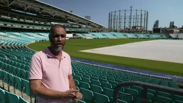 covid-19 vaccination centre opened at the oval cricket ground; england: london: kennington: the oval cricket ground: ext dr abdul mukadam interview... - oval kennington stock videos & royalty-free footage
