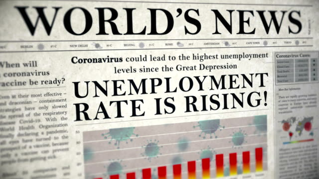 vídeos de stock e filmes b-roll de coronavirus covid-19 virus unemployment rate is rising headline newspaper animation - economy