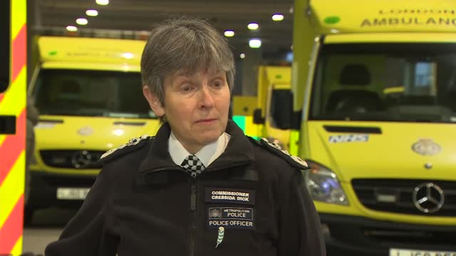cressida dick visits london ambulance service gvs and interviews; part 2 of 3 england: london: wembley stadium: ext dame cressida dick interview sot... - turning on or off stock videos & royalty-free footage