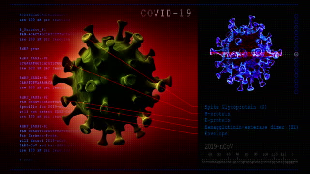 vídeos de stock, filmes e b-roll de doença do coronavírus. modelo 3d covid-19 - micrografia