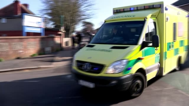 doctor worked in ae for two days before becoming unwell with virus england west sussex worthing ext ambulance along to hospital entrance - ambulance stock videos & royalty-free footage