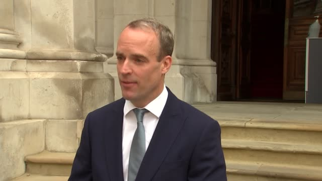 dominic raab interivew england london westminster foreign and commonwealth office ext dominic raab mp interview sot trivial not trivial people think... - furlough stock videos & royalty-free footage