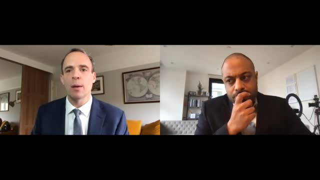 dominic raab interview; england: london: int dominic raab mp interview via internet sot q: on meeting of the un security council and british... - war and conflict video stock e b–roll