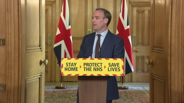 downing street daily press conference 7th may; uk, london, downing street, number 10; dominic raab mp , dr jenny harries and professor sir ian... - itv news at one stock videos & royalty-free footage