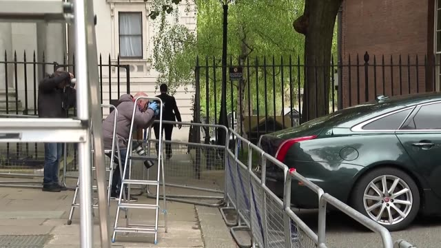 downing street departures; england: london: westminster: downing street: ext dominic raab mp departing number 10 / matt hancock mp departing - downing street stock videos & royalty-free footage