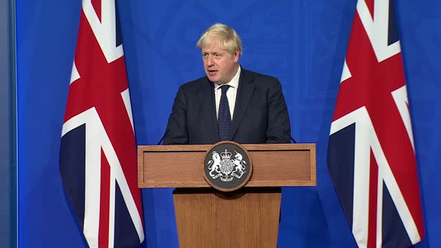 downing street press conference 14th september 2021; main camera part 6 of 12 england: london: westminster: downing street briefing room: int boris... - balance stock videos & royalty-free footage