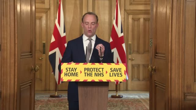 downing street press conference 16th april england london westminster downing street int dominic raab mp statement sot fifth and this is really... - mountain peak stock videos & royalty-free footage