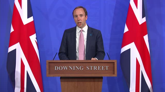 vídeos de stock, filmes e b-roll de downing street press conference 19th may 2021; press conference part 8 of 13 england: london: westminster: downing street: int matt hancock mp , dr... - cathy newman