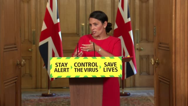downing street press conference 22nd may; england: london: westminster: downing street: int press conference part 10 of 12 priti patel mp , paul... - global communications stock videos & royalty-free footage