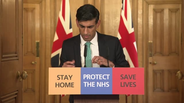 downing street press conference 26th march; england: london: westminster: downing street: int downing street press conference part 5 of 9 rishi sunak... - corporate theft stock videos & royalty-free footage