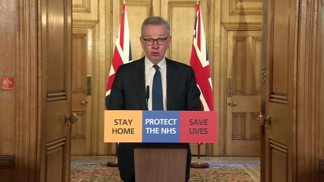 downing street press conference 27th march; clip 1 of 8 england: london: downing street: number 10: int michael gove mp into room followed by sir... - communication stock videos & royalty-free footage