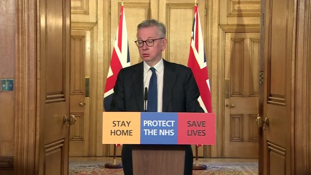 downing street press conference 27th march; clip 6 of 8 england: london: downing street: number 10: int michael gove mp , sir simon stevens and dr... - volunteer stock videos & royalty-free footage