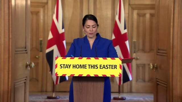 downing street press conference april 11th england london westminster downing street int press conference part 2 of 15 priti patel mp statement sot i... - family with one child stock videos & royalty-free footage