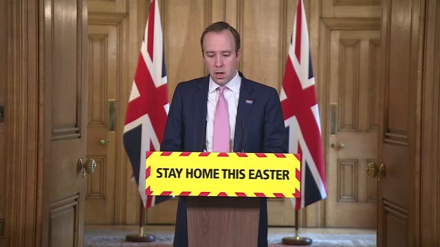 downing street press conference april 12th; england: london: westminster: downing street: int press conference part 2 of 8 matt hancock mp speaking... - number 9 video stock e b–roll