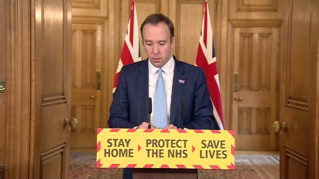 downing street press conference april 2nd england london westminster downing street int matt hancock mp statement sot phe announced upgraded ppe... - positive emotion stock videos & royalty-free footage