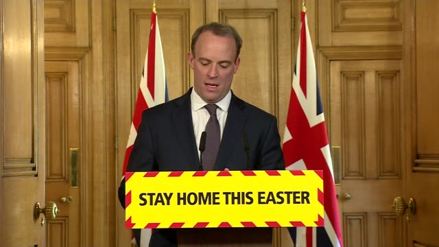 downing street press conference april 9th; england: london: westminster: downing street: int press conference part 1 of 9 dominic raab mp , prof... - number 9 video stock e b–roll
