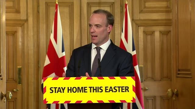 stockvideo's en b-roll-footage met downing street press conference april 9th; england: london: westminster: downing street: int press conference part 8 of 9 dominic raab mp , prof... - number 9