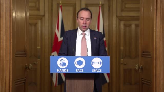 downing street press conference december 10th; ** part 1 of 10 ** england: london: westminster: downing street: int matt hancock into coronavirus... - add list stock videos & royalty-free footage