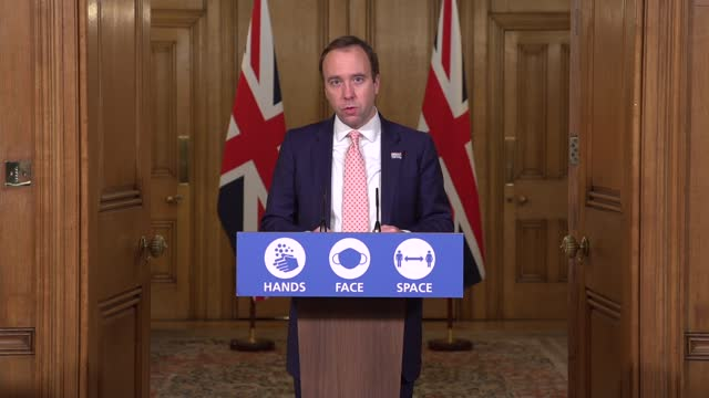 downing street press conference december 14th; ** part 1 of 13 ** england: london: westminster: downing street: int matt hancock into coronavirus... - new age stock videos & royalty-free footage