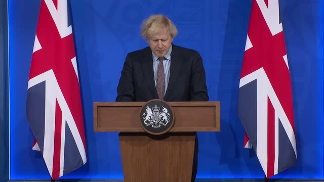 downing street press conference in new briefing room march 29th 2021; ** 1 of 9 ** england: london: 10 downing street press briefing room: int gv... - 演壇点の映像素材/bロール