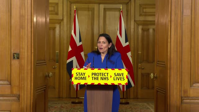 downing street press conference jan 12th; press conference part 7 of 8 england: london: westminster: downing street: int priti patel mp , martin... - politics stock videos & royalty-free footage