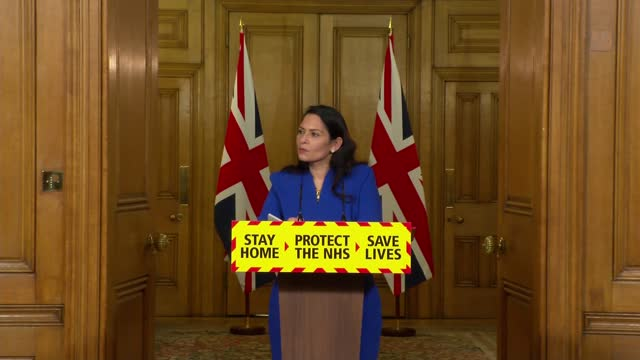 downing street press conference jan 12th; press conference part 6 of 8 england: london: westminster: downing street: int priti patel mp , martin... - politics stock videos & royalty-free footage