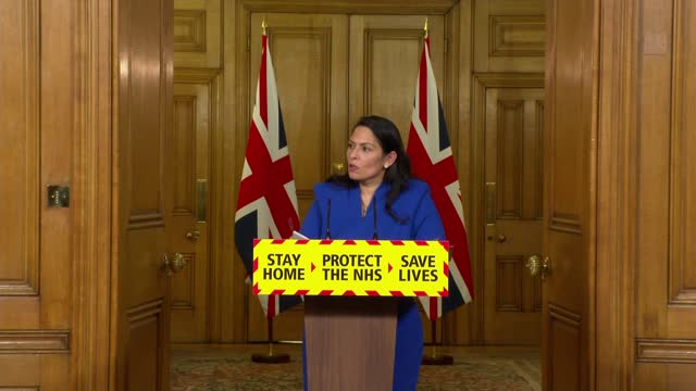 downing street press conference jan 12th; press conference part 5 of 8 england: london: westminster: downing street: int priti patel mp , martin... - politics stock videos & royalty-free footage