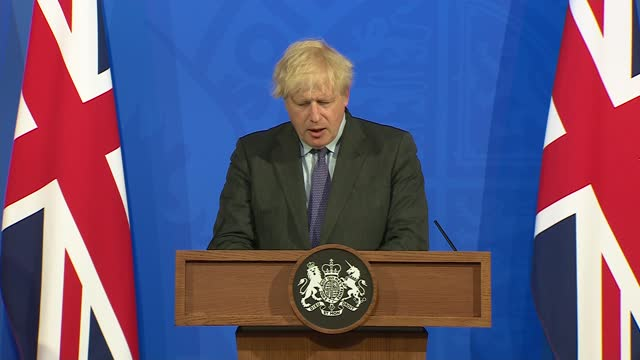 downing street press conference - june 14th 2021; part 1 of 11 england: london: westminster: downing street: int boris johnson mp , chris whitty and... - press room stock videos & royalty-free footage