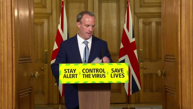 downing street press conference june 15th england london westminster downing street int press conference part 2 of 7 dominic raab mp statement sot at... - 4 5 years stock videos & royalty-free footage