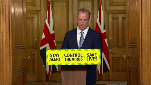 downing street press conference june 15th; england: london: westminster: downing street: int press conference part 3 of 7 dominic raab mp question... - 一般教育証明試験点の映像素材/bロール