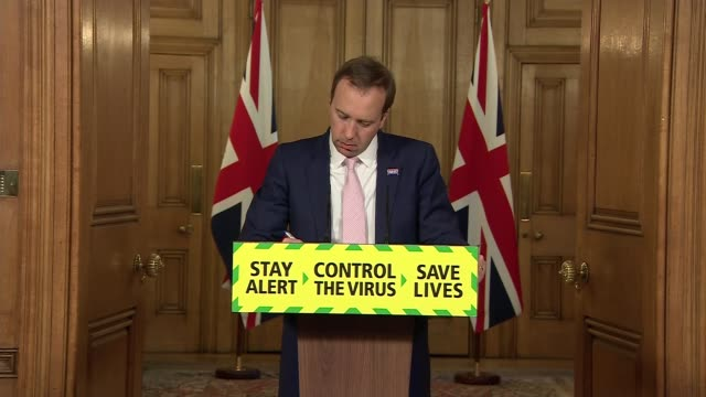downing street press conference june 18th; england: london: westminster: downing street int press conference part 6 of 9 matt hancock mp and baroness... - infectious disease stock videos & royalty-free footage