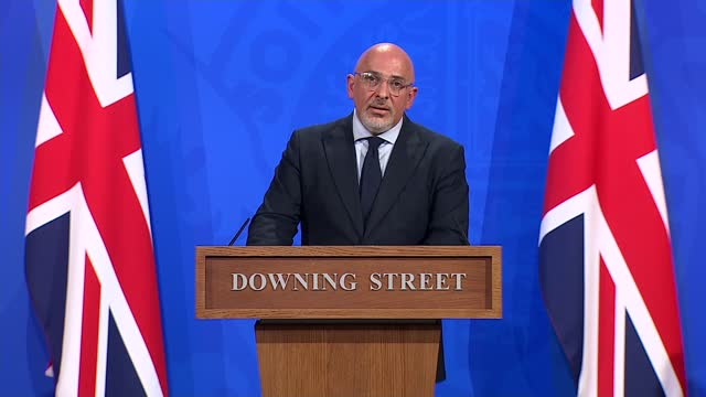 downing street press conference june 23rd 2021; england: london: westminster: downing street: int nadhim zahawi mp opening statement sot. our... - architectural column stock videos & royalty-free footage