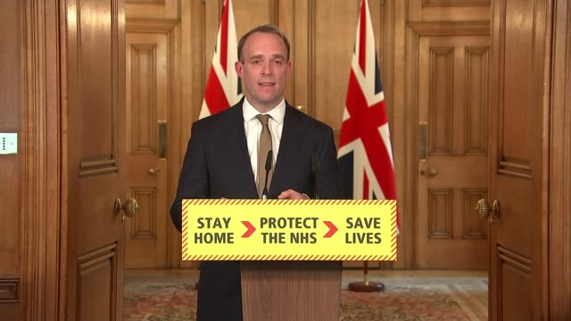 downing street press conference march 30th clip 2 of 6 england london downing street number 10 int dominic raab mp press conference sot we have a lot... - politics stock videos & royalty-free footage