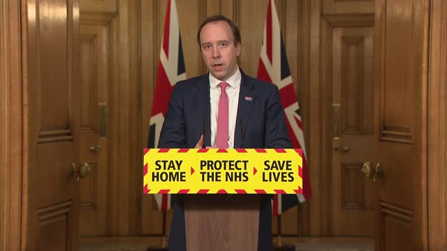 downing street press conference march 5th 2021; press conference part 6 of 10 england: london: westminster: downing street: int matt hancock mp and... - itv news at one点の映像素材/bロール