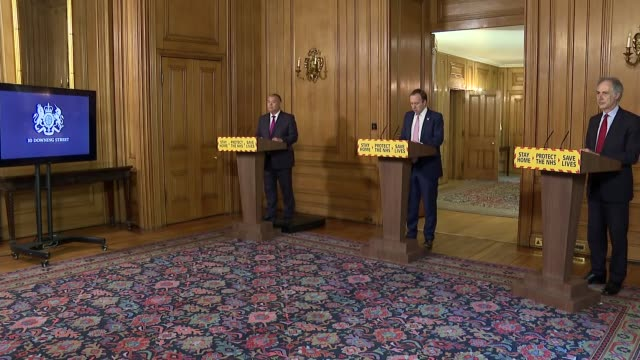 downing street press conference may 4th - cutaways; england: london: westminster: downing street: int matt hancock mp , jonathan van-tam and... - entering stock videos & royalty-free footage