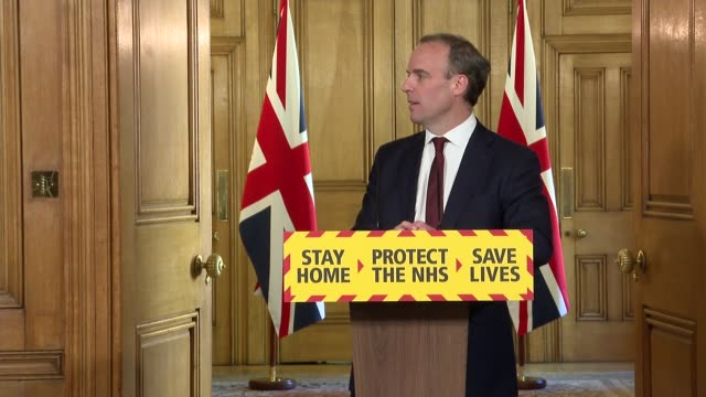 stockvideo's en b-roll-footage met downing street press conference may 5th; england: london: westminster: downing street: int press conference part 6 of 10 dominic raab mp and... - graph