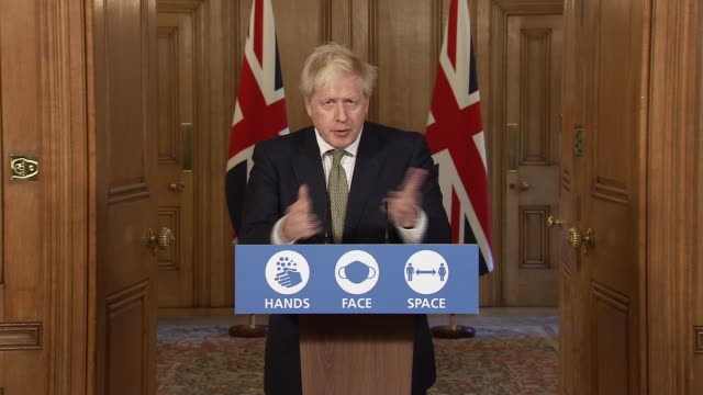 downing street press conference october 22nd; england: london: westminster: downing street: int press conference part 1 of 11 boris johnson mp ,... - an answer film title stock videos & royalty-free footage
