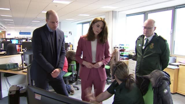 duke and duchess of cambridge visit nhs 111 call centre in croydon; england: london: croydon: nhs 111 call centre: int catherine, duchess of... - royalty stock videos & royalty-free footage