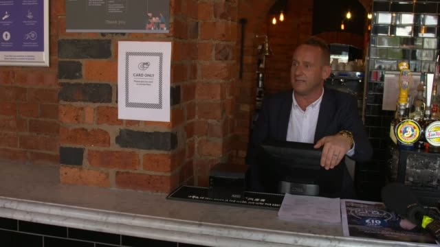 'eat out to help out' restaurant scheme begins; england: northampton: int reporter to camera as eating dinner in pub sot oliver willis interview sot... - northampton england stock videos & royalty-free footage